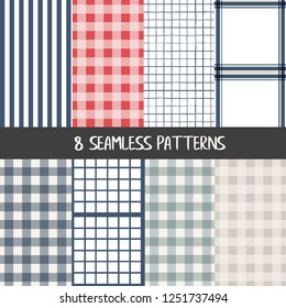 Set of checkered  farmhouse style seamless patterns for kitchenware and homeware, fabric and stationery design and decoration