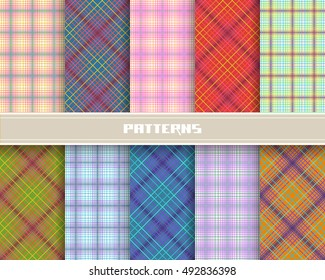 Set of checkered linear seamless patterns. Vector geometric backgrounds collection for print, web. Color decorative ornamental illustration