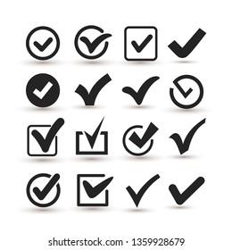 Set of Checkmark Icon. Flat design style. Vector illustration. Isolated on white background.