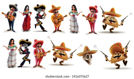 set of cheerful cartoon characters Mexico