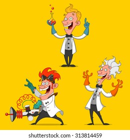 set of cheerful scientists. Vector.