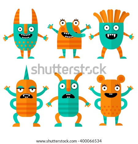 Set of cheerful and terrible monsters in a flat style. Colorful characters in cartoon style. Monsters with different emotions.