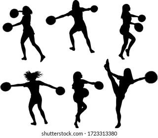 set of cheerleaders silhouettes - vector illustration