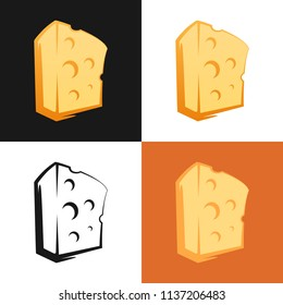 Set of Cheese icon on different backgrounds. Vector Illustration of Dairy productions.