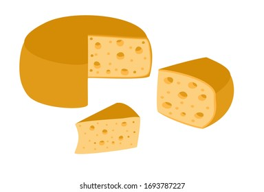 Set of cheese wheels and slices isolated on a white background. Сheese flat icon. Vector Head of cheese in flat style isolated on white background.