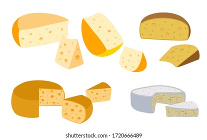 Set of cheeses. Collection of cartoon cheeses. Dairy. Cheese types. Modern flat style vector flat illustration. Icons isolated on white background.
