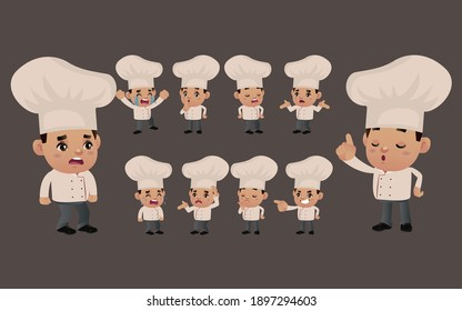 Set of chef with different emotions