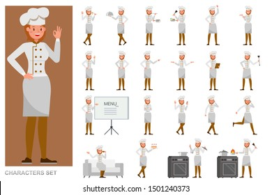 Set of Chef woman working character vector design. Presentation in various action with emotions, running, standing and walking.