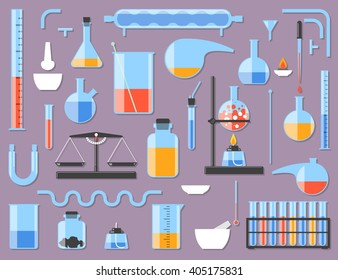 Set of chemical laboratory equipment. Chemical glass. Constructor parts. Vector illustration