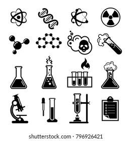 Set of Chemistry icons and Scientific icons. Isolated on white background. Vector illustration