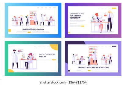Set of Chemistry Science Landing Page Templates. Scientists Characters Working in Medical Laboratory. Research, Testing Using Lab Equipment as Microscope, Test Tubes. Cartoon Flat Vector Illustration