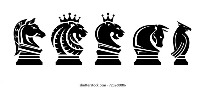 set chess animals illustration