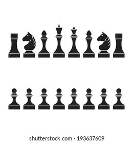 Set of chess pieces (chessmen, chess set), vector illustration