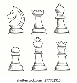 Set of chess pieces icons. King, queen, bishop, knight, pawn and rook. Hand drawn chess made in vector. Chess pieces for chess school or chess club.