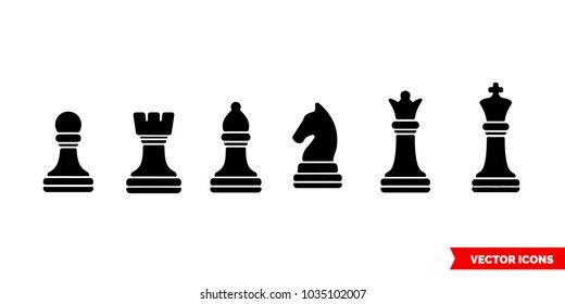 Set of a chess symbols black icon of 3 types: color, black and white, outline. Isolated vector sign symbol.