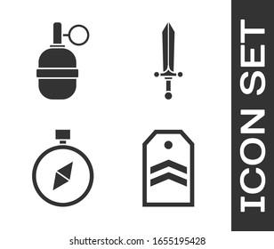 Set Chevron, Hand grenade, Compass and Medieval sword icon. Vector