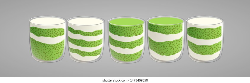 Set of chia seed pudding with green matcha tea. Healthy vegan snack in glass layered with cream. Vector illstration isolated on gray background.