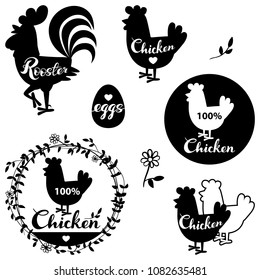 Set chicken and eggs farm logo emblem. Natural and fresh farm. Vector illustration set of premium chicken meat labels.