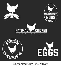 Set chicken and eggs farm logo emblem. Natural and fresh farm. Vector illustration