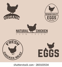 Set of chicken and eggs farm logo emblem. Natural and fresh farm. Vector illustration