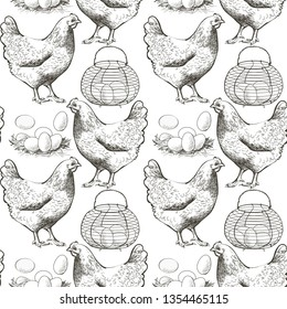 Set of chicken, eggs in the vintage wire egg gathering basket. Seamless pattern vector illustration