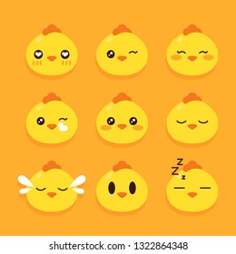 Set of chicken emoticons vector illustration.