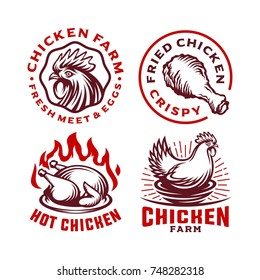 Set Chicken Label for Business Template illustration