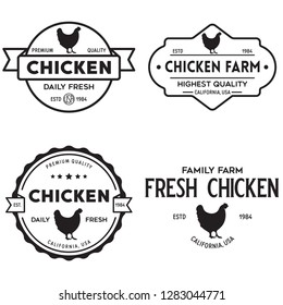 Set of chicken logo, retro print, poster for Butchery meat shop, farm etc. Farm Products, Organic and chicken silhouette. Logo template. Vector Illustration