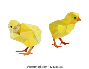 set chicken vector illustration low poly. Vector Low Poly, Polygonal. colorful low polygon chicken. Animal wildlife vector