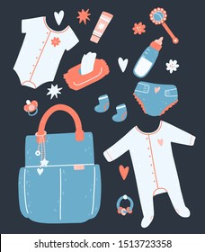 Set for a child with a bag, napkins, diapers, rattles, clothes, a bottle, cream. Vector illustration.