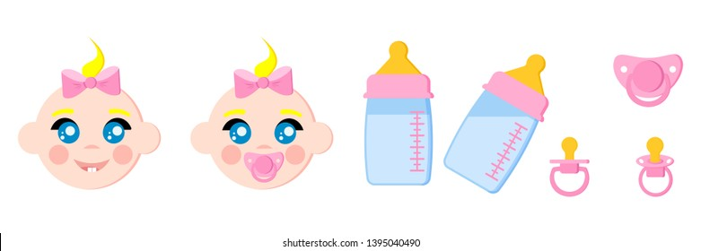 Set of child faces icons, baby bottles with milk, pacifiers/baby dummies,nipple thermometer,nibbler. Girl with dummy. Icon isolated on white background. Vector illustration. Cartoon flat style.
