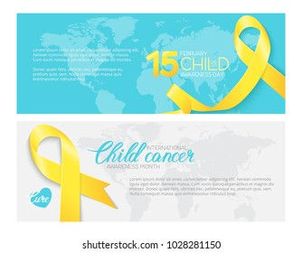 A set of Childhood Cancer Awareness banners with realistic yellow ribbons and place for your text. Child cancer February awareness month. Vector illustration