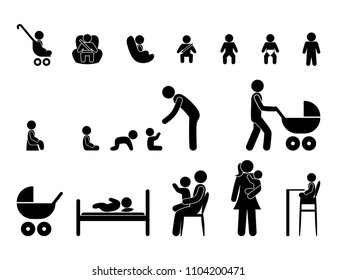 set of childhood icons, child care, parents and children, stick figure isolated pictograms, baby and adults people, family symbols