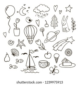Set of childish cute doodles. Vector clipart.