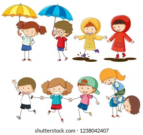 Set of children activity illustration