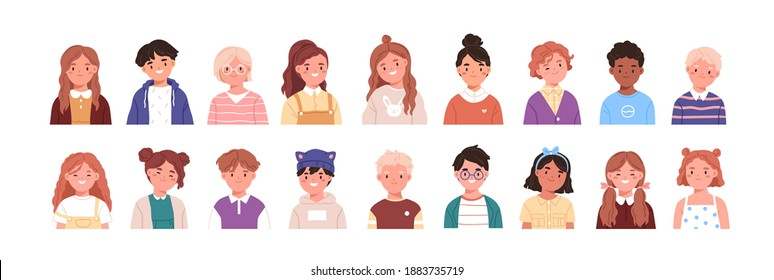 Set of children avatars. Bundle of smiling faces of boys and girls with different hairstyles, skin colors and ethnicities. Colorful flat vector illustration isolated on white background