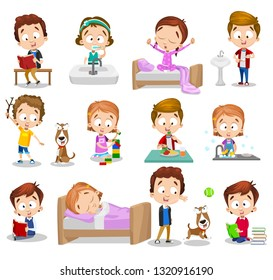 Set of children busy with their hobbies. Reading book playing with dog eating and washing dishes vector illustration. Different activities. Childhood concept. Isolated on white