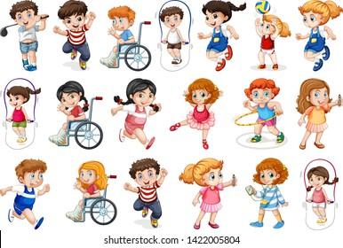 Set of children character illustration