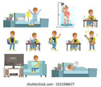 Set of children character vector design. Presentation in various action with emotions, running, standing and walking. Kids Daily Routine Activities.