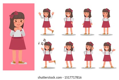 Set of children character vector design. Presentation in various action with emotions and expression.