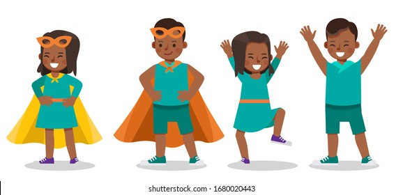 Set of children character vector design. Presentation in various action with emotions.