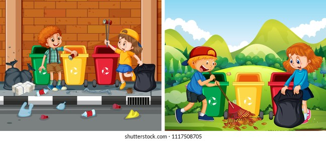 A Set of Children Cleaning Public Area illustration