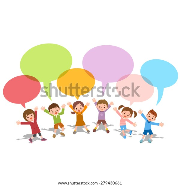 Set of children with colorful dialog speech bubbles Vector illustration of thinking concept
