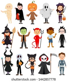 Set of children in costumes for Halloween. Collection of cartoon children in carnival costumes. Vector illustration of mystical outfits for Halloween.