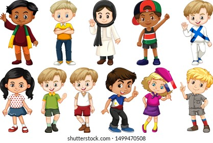 Set of children from different countries illustration