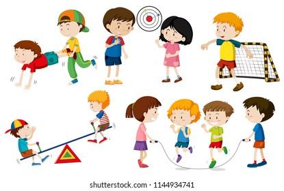 Set of children doing activites illustration