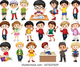 Set of children doing different actions illustration
