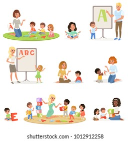 Set of children doing speech therapy with teachers. Child development center. Kids alphabet letters through play. Educational game. Isolated flat vector design