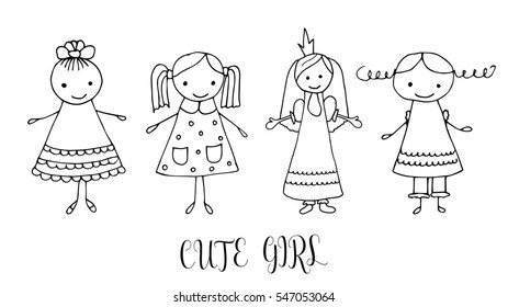 set children drawing girls template painting stock vector royalty