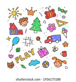 Set of children drawings in color. Hand drawn set of cute kids doodles. Vector color illustration.